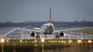Plane preparing to take off at Gatwick Airport