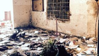 Destruction in part of a school in Peshawar following a massacre there