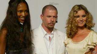 Alexander McQueen with Naomi Campbell and Kate Moss