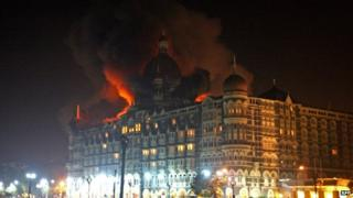The Taj Mahal Palace Hotel during attacks on Mumbai in 2008