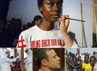 Top: A makeup artist prepares a model with a Bring Back Our Girls T-shirt during Lagos Fashion and Design Week in October. Bottom: L: Health workers wearing personal protective equipment assist an Ebola patient at the Kenama treatment centre in Sierra Leone in November C: South African Oscar Pistorius crying at his murder trial in Pretoria, South Africa, in September. R: Member of a South Sudanese anti-government militia in Nasir in April - all 2014