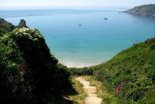 Steps down to Guernsey's Petit Port Bay