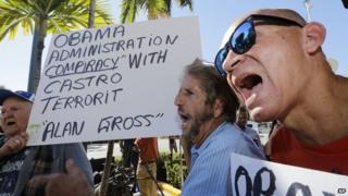 Anti-Castro activists demonstrate in Little Havana.