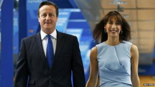 Prime Minister David Cameron with his wife Samantha