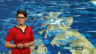 Judith Ralston at the weather map
