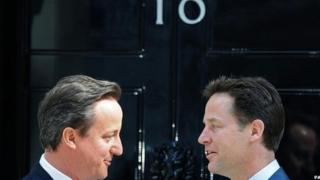 David Cameron and Nick Clegg outside No 10 in May 2010