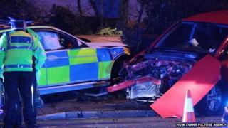 Police car crashed on Manor Way, Cardiff