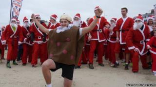 The start of the pudding chase on Weymouth beach