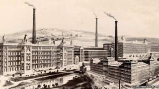 Image of a textile mill from the website of the Coats pension plan