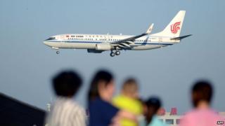 Air China Boeing 737 preparing to land at Beijing Capital International airport