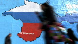 Crimea map on wall in Russian colours