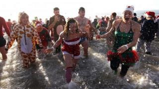 Christmas Day swim in Bournemouth