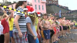 Hundreds get ready to take part in the Cromer Boxing Day dip 2014