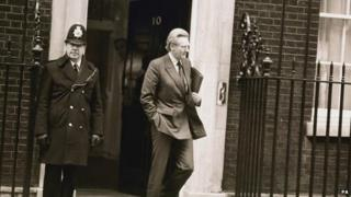 Michael Heseltine leaving No 10 Downing Street after quitting as defence secretary in January 1986