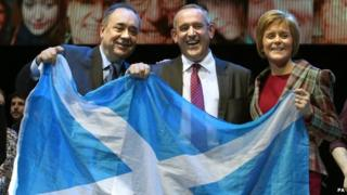 Former SNP leader Alex Salmond (far left), deputy leader Stewart Hosie and leader Nicola Sturgeon