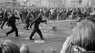 Poll Tax riot in London, March 31, 1990