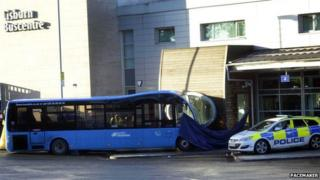 The woman died after being hit by the bus at Lisburn bus station