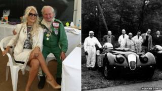 Norman Dewis with a young lady and archive photo of his racing days