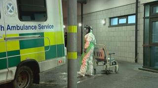 Medical worker waiting to meet patient at Aberdeen Royal Infirmary
