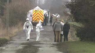 Police at the murder scene