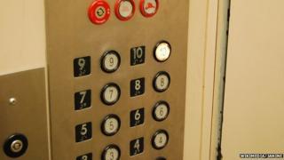Buttons inside a lift
