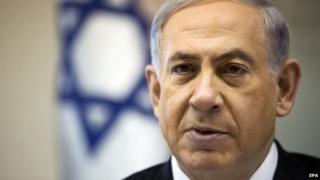 Prime Minister Benjamin Netanyahu attends the weekly cabinet meeting in Jerusalem.