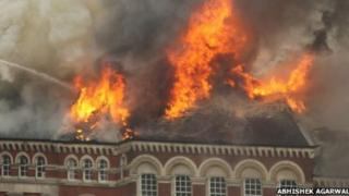 Fire on the roof of the building in Wansey Street