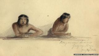 Patagonian Indians in Gregory Bay