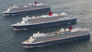 The Queen Mary 2, the Queen Elizabeth and Queen Victoria