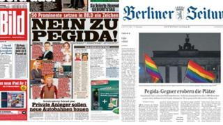 Front page of German newspapers Bild (l) and Berliner Zeitung (r)