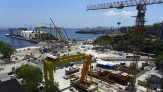 A view of construction work in Rio's harbour area
