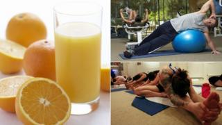 Juice, man at the gym and a woman taking part in hot yoga