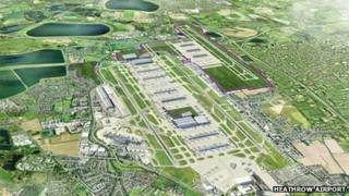 Artist's impression of option 1 for the third runway north-west of Heathrow
