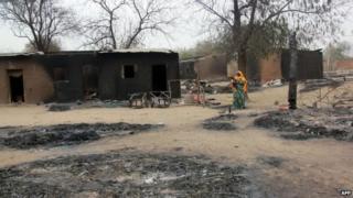 Burned houses in Baga