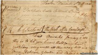 Napoleonic war letter from Morris Williams, held by the Ceredigion Archives