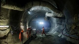 Workmen underground at Farringdon Crossrail station