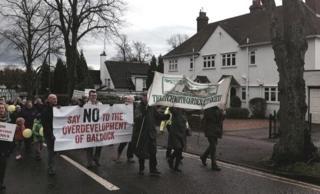 Protestors in Letchworth
