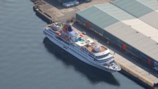 Cruise ship at Greenock Ocean Terminal