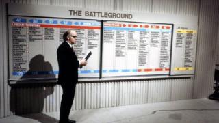 """Robert McKenzie, one of the presenters of BBC TV's Election Night results programme, """"Election 74"""" on 28 February 1974"""