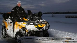 Sami Paivike on his snow plough