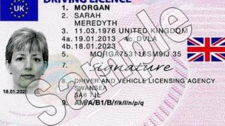 Sample UK driving licence