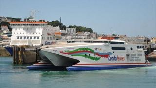 Condor Rapide and Commodore Clipper (left) in Guernsey's St Peter Port harbour