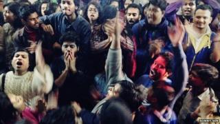 Jadavpur University students celebrating the resignation of Vice-Chancellor on 12 January 2014