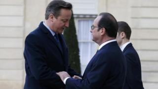David Cameron with Francoise Hollande