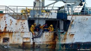 Fishing vessels in the Southern Ocean