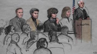 A sketch artist rendition of the scene inside the jury selection in the trial of Dzhokhar Tsarnaev 6 January 2015