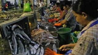 Women prepare the fish for market