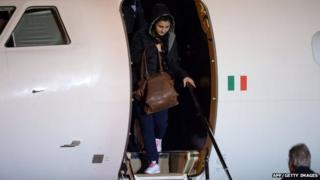 Vanessa Marzullo is welcomed by Italy's Minister of Foreign Affairs, Paolo Gentiloni (R) as she arrives at Ciampino airport in Rome.