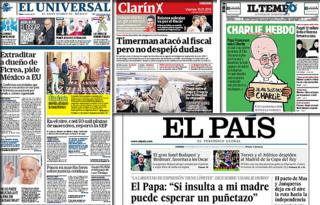 Combo picture of the newspaper front pages