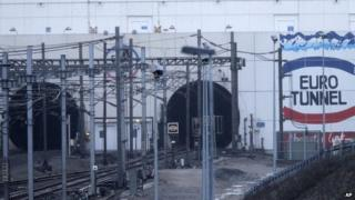 Entrance to Channel Tunnel at Calais on 17 January 2015